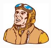 World war two ace pilot. Vector art of an ace pilot stock illustration