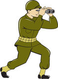 World War Two American Soldier Binoculars Cartoon Royalty Free Stock Image
