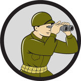 World War Two American Soldier Binoculars Circle Cartoon Royalty Free Stock Image