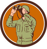 World War Two American Soldier Binoculars Retro Circle. Illustration of a World War One American soldier serviceman looking through the binoculars set inside Royalty Free Stock Photo