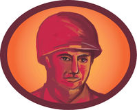 World War Two American Soldier Head Watercolor Stock Photography