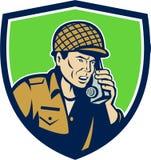 World War Two American Soldier Talk Radio Shield Stock Photo