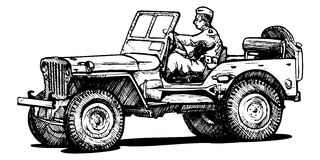 World war two army jeep. Vector drawing of army jeep stylized as engraving stock illustration