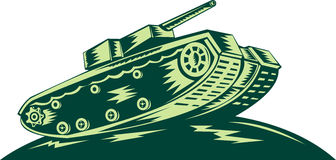 World war two Battle tank. Illustration of a Stock Image