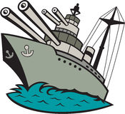 World War Two Battleship Cartoon. Illustration of a world war two naval battleship boat with big guns at sea done in cartoon style on isolated background Royalty Free Stock Photo
