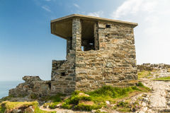 World War Two coastal observation post South Stack, United Kingd. Stone WWII Observation Post. Anti invasion measure. Anglesey, North Wales, United Kingdom stock photos