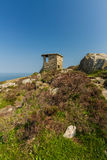 World War Two coastal observation post South Stack, United Kingd. Stone WWII Observation Post. Anti invasion measure. Anglesey, North Wales, United Kingdom royalty free stock photo