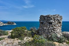 World war two Guard tower. Landscape mediterranean sea view with a world war two guard tower Stock Photo