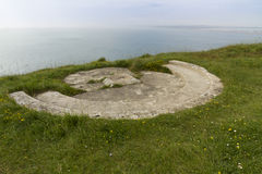 World War Two gun emplacement on cliff edge Royalty Free Stock Images