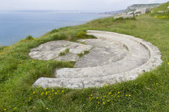 World War Two gun emplacement on cliff edge Stock Photos
