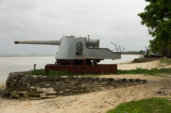 World War Two Guns on Kiribati Royalty Free Stock Photos