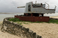 World War Two Guns on Kiribati Stock Photos