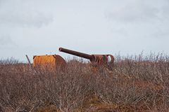 World War Two 50 mm Canon. A World War Two 50 mm Canon used by the U.S. Army at Cold Bay, Alaska royalty free stock image