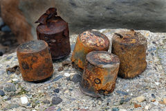 World war two munitions and ordnance on beach. Royalty Free Stock Photos