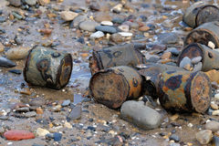 World War two ordnance on beach. World War two ordnance burried to dispose at the end of the conflict reappearing on UK east coast beach Stock Photo