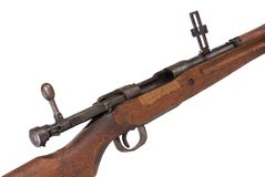 World War Two Rifle Detail. Detail view of World War Two bolt action battle rifle, bolt open, long range sights up, white iso Royalty Free Stock Photos