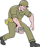 World War Two Soldier American Grenade Cartoon Royalty Free Stock Photo