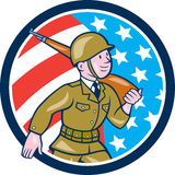World War Two Soldier American Marching Cartoon Circle. Illustration of a World War two American soldier serviceman marching with assault rifle viewed from side Stock Photos