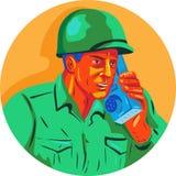 World War Two Soldier American Talk Radio WPA Stock Image