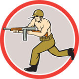 World War Two Soldier American Tommy Gun. Illustration of a World War two American soldier serviceman running with tommy thompson sub-machine gunon isolated Royalty Free Stock Photos