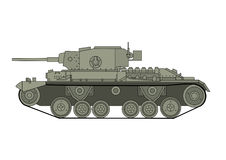 World War Two Soviet tank. World War Two tank. British tank T-26, side view. Vector scalable illustration Stock Photo