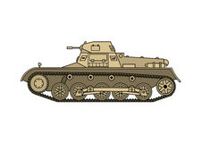 World War Two Soviet tank. World War Two tank. German tank T-1, side view. Vector scalable illustration Stock Images