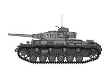 World War Two Soviet tank. World War Two tank. German tank T-3, side view. Vector scalable illustration Stock Images