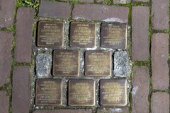 World War Two. Stumbling stones, or stolpersteine are memorial brass plates placed into the pavement outside certain houses. Netherlands, Gouda, 2017, Stumbling royalty free stock photography