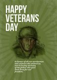 World War two Veterans Day Soldier Card Sketch Stock Photo