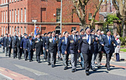 World War 2 veterans marching in Liverpool, UK Stock Photo