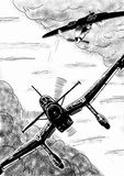 World War 2 vintage aircraft digital drawing. Royalty Free Stock Image
