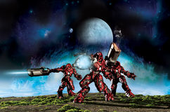 World warriors at war. Three soldiers in bio-mechanical suits on a distant planet defending their position Royalty Free Stock Image