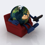 World watching television from the couch Royalty Free Stock Photography