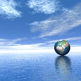 World on the water. 3d rendered Stock Photos