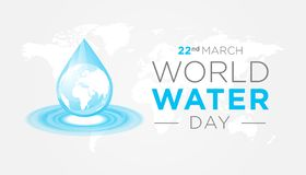 World Water Day Background. Nice Light Gray and Blue World Water Day Background Illustration Banner royalty free illustration