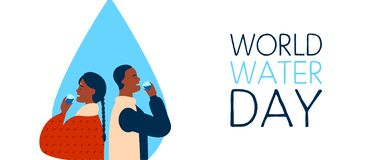 Free World Water Day Banner For Safe Drinking Waters Royalty Free Stock Photography - 141873557