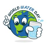 World water day banner with world charactor hold water glass vector design stock illustration