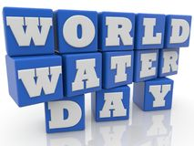 World water day concept on toy cubes. In backgrounds Stock Image