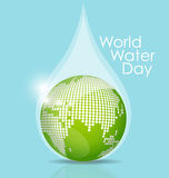 World water day concept with water drop, vector illustration. Stock Photo