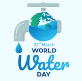 world water day with faucet background ,benner , greeting card or poster for campaign save water Stock Image