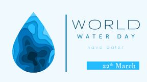 World Water Day in paper cut stile. Abstract waterdrop concept. Save the water. Ecology. Water drop. Vector illustration.  vector illustration