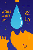 World Water Day. Vector concept illustration for for World Water Day 22nd March. Design template for poster, card, web banner ad, article Stock Image