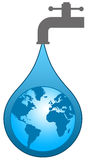 World water. Having sufficient future water supplies in the world Royalty Free Stock Image