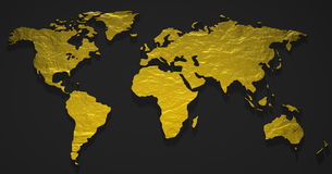 3D Gold Map. Molten gold in the shape of the earth Stock Photos