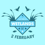 World wetlands day cartoon design illustration, campaign asset for use on social media Royalty Free Stock Images