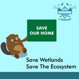 World wetlands day cartoon design illustration, campaign asset for use on social media Stock Image