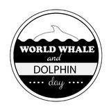 World Whale Dolphin day emblem isolated vector illustration black text on white background. 23 july animal rights protection holiday event label, greeting card Stock Photo