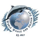 World Whale and Dolphin Day. 23 July. Concept of ecological holiday. Dolphin and Whale. Calendar. Holidays Around the. World. Event of each day. Green blur Stock Photos