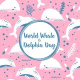 World whale and dolphin day poster. royalty free illustration
