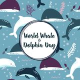 World whale and dolphin day poster. vector illustration